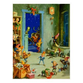 Los duendes de Santa en su taller el Nochebuena Postal