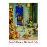 Los duendes de Santa ocupados en el Polo Norte Tarjeta Postal