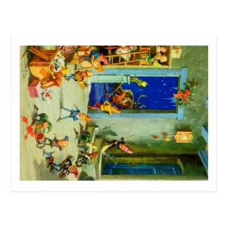 Los duendes de Santa ocupados en su taller de Polo Postales