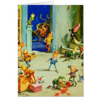 Los duendes de Santa ocupados en su taller de Polo Tarjeta De Felicitación