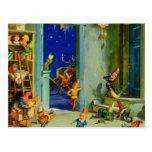 Los duendes de Santa que trabajan en su taller de  Postal