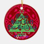 Los duendes han salido del edificio adorno navideño redondo de cerámica