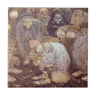 Los duendes y el Tomte más joven Azulejo Cuadrado Pequeño
