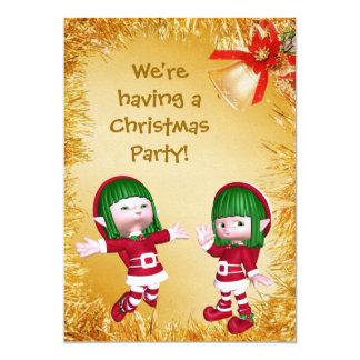 Los duendes y la fiesta de Navidad felices lindos Invitación 12,7 X 17,8 Cm