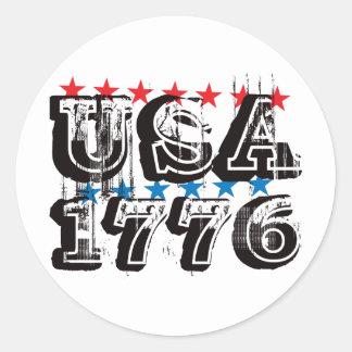 Los E.E.U.U. 1776 - Color Pegatina Redonda