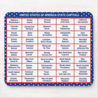Los E.E.U.U. - 50 estados y capitales Alfombrillas De Ratones