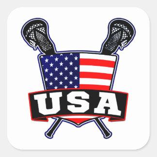 Los E.E.U.U. americanos LaCrosse Calcomania Cuadradas Personalizada