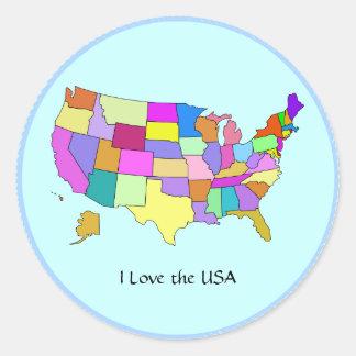 LOS E.E.U.U.: Amo los E.E.U.U., Estados Unidos Etiquetas Redondas