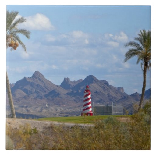 Los E.E.U.U., Arizona, ciudad de Lake Havasu. Faro Azulejo Cuadrado Grande