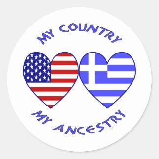 Los E.E.U.U./ascendencia griega del país Etiqueta Redonda