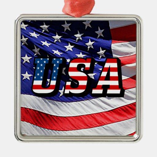 Los E.E.U.U. - Bandera americana Adorno Navideño Cuadrado De Metal