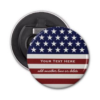Los E.E.U.U. bandera americana personalizado Abrebotellas Redondo