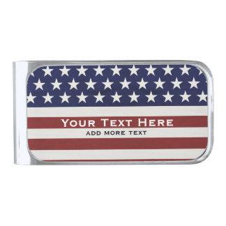 Los E.E.U.U. bandera americana personalizado Clip Para Billetes Plateado