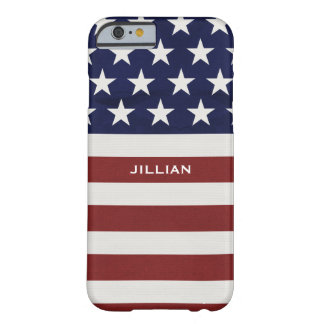 Los E.E.U.U. bandera americana personalizado Funda De iPhone 6 Barely There