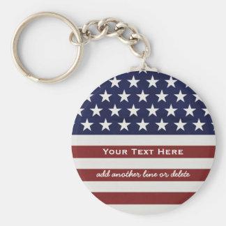 Los E.E.U.U. bandera americana personalizado Llavero Redondo Tipo Pin