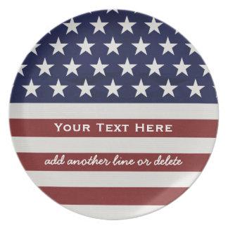 Los E.E.U.U. bandera americana personalizado Plato De Comida