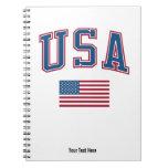 LOS E.E.U.U. + Bandera Libro De Apuntes Con Espiral