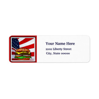 Los E.E.U.U. bandera remite de la comida campestre Etiqueta De Remitente