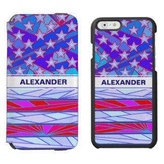 Los E.E.U.U. blancos de la bandera americana y Funda Cartera Para iPhone 6 Watson