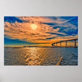 Los E.E.U.U., CA, puente de la bahía de San Póster