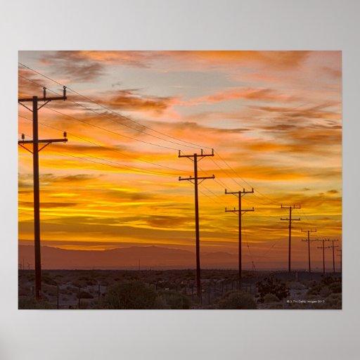 Los E.E.U.U., California, Palm Springs, línea eléc Poster