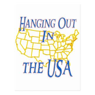 Los E.E.U.U. - Colgante hacia fuera Tarjeta Postal