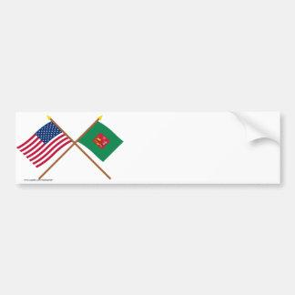 Los E.E.U.U. cruzados y primeras banderas del regi Pegatina De Parachoque