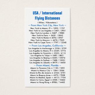 Los E.E.U.U./distancias internacionales del vuelo Tarjetas De Visita