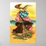 Los E.E.U.U. Eagle y bandera Posters