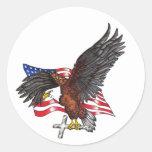 Los E.E.U.U. en dios confiamos en Eagle Pegatina Redonda