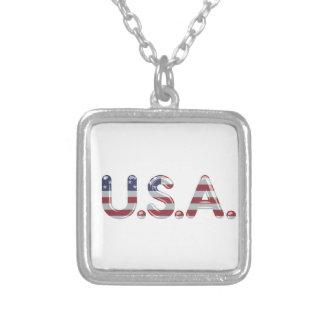 Los E.E.U.U. en letras del cromo Colgantes Personalizados