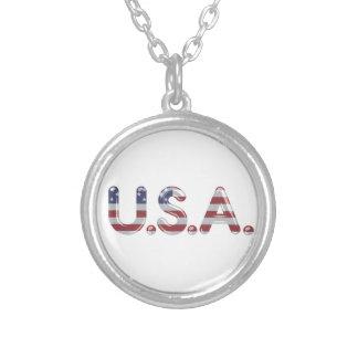 Los E.E.U.U. en letras del cromo Collar