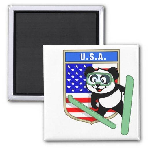 Los E.E.U.U. Esquí-que saltan la panda Imán De Frigorífico