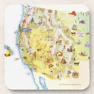 Los E.E.U.U., Estados Occidentales de América, map Posavasos De Bebidas