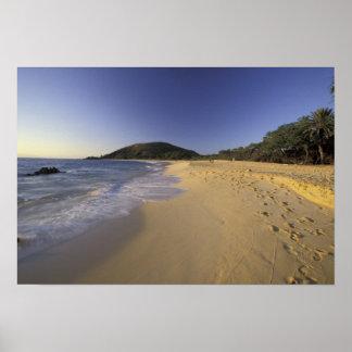 Los E.E.U.U., Hawaii, Maui, huellas en la arena, M Póster