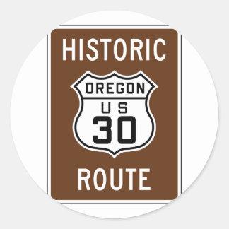 Los E.E.U.U. históricos 30, Oregon Pegatina Redonda