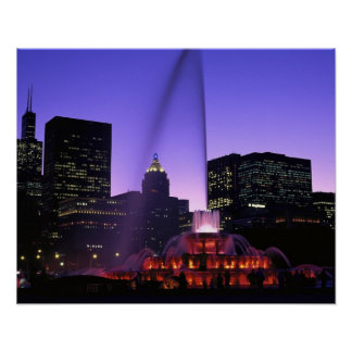 Los E E U U IL Chicago Fuente de Buckingham en Poster