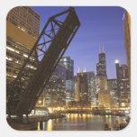 Los E.E.U.U., Illinois, Chicago, el río Chicago Pegatinas Cuadradases