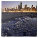 Los E.E.U.U., Illinois, Chicago, horizonte de la c Azulejo
