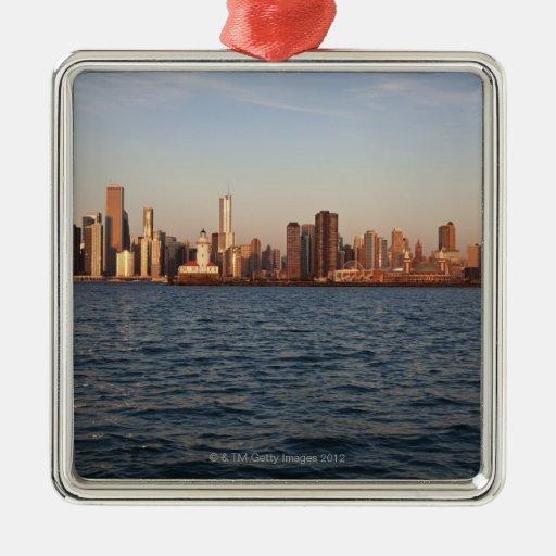 Los E.E.U.U., Illinois, Chicago, horizonte de la c Ornamento De Navidad
