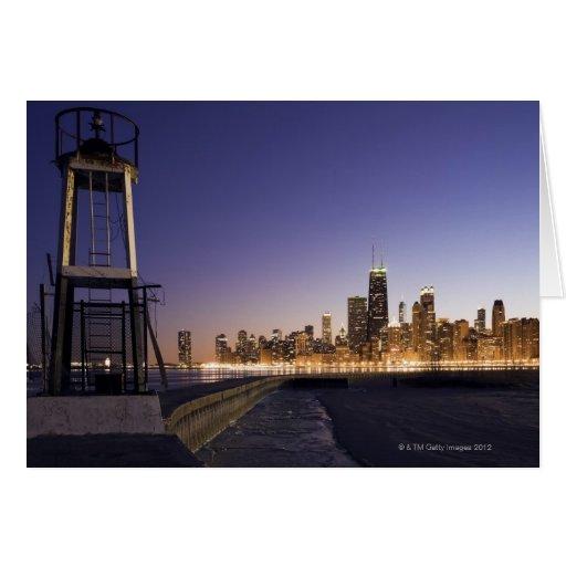Los E.E.U.U., Illinois, Chicago, horizonte de la c Tarjetón