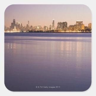 Los E.E.U.U., Illinois, Chicago, horizonte de la Pegatina Cuadrada