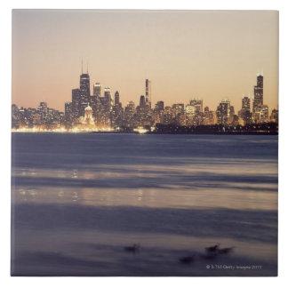 Los E.E.U.U., Illinois, Chicago, horizonte en la p Azulejo Cuadrado Grande