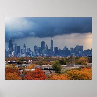 Los E.E.U.U., Illinois, Chicago, paisaje urbano Póster