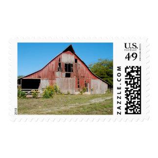 Los E.E.U.U., Kansas, granero rojo viejo Estampilla