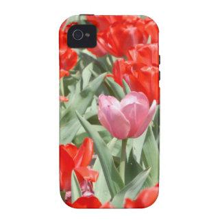Los E.E.U.U., Kansas, tulipanes rojos con un Vibe iPhone 4 Carcasa