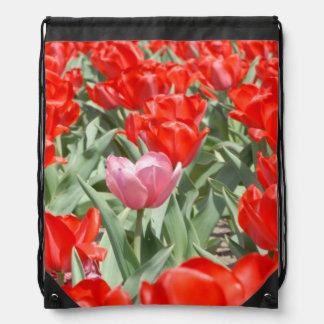 Los E.E.U.U., Kansas, tulipanes rojos con un Mochilas