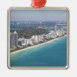 Los E.E.U.U., la Florida, Miami, paisaje urbano Adorno Navideño Cuadrado De Metal