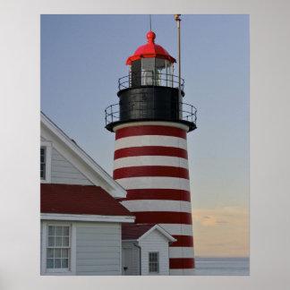 Los E.E.U.U., Maine, Lubec. Faro principal del oes Póster