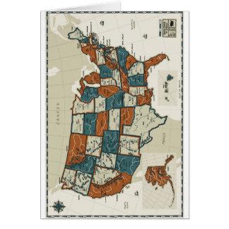 Los E.E.U.U. - Mapa del vintage Tarjeta De Felicitación
